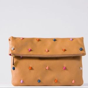 Tehra + B Leather Fold Over French Knot Clutch